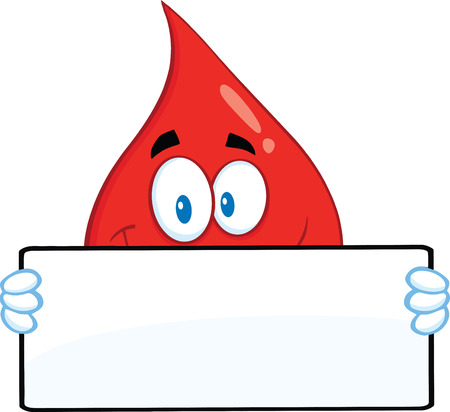 Smiling Red Blood Drop Cartoon Mascot Character Holding A Banner.