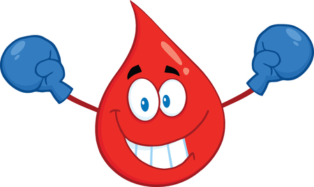 Smiling Red Blood Drop Cartoon Mascot Character With Boxing Gloves.  Illustration