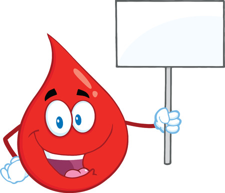 Red Blood Drop Cartoon Mascot Character Holding Up A Blank Sign.