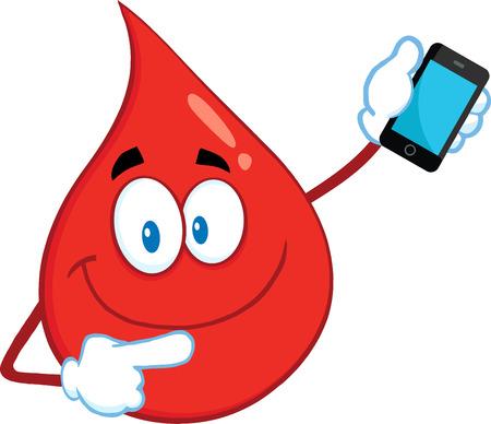 붉은 혈액 드롭 스마일 만화 마스코트 캐릭터 휴대 전화를 가리키는.