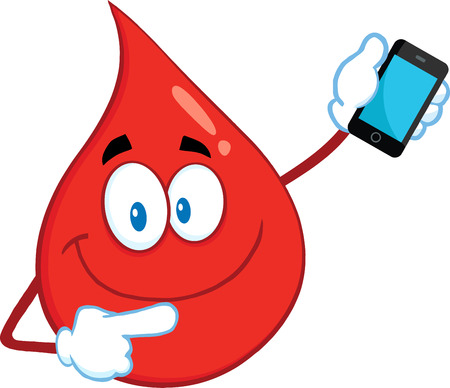 Smiling Red Blood Drop Cartoon Mascot Character Pointing To A Mobile Phone.