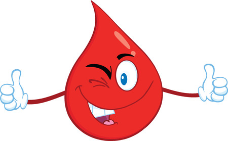 donor: Smiling Red Blood Drop Cartoon Mascot Character Giving A Double Thumbs Up.