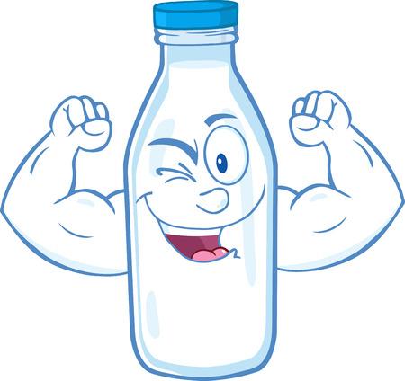 Guiño de la leche Carácter Botella Mostrando armas musculares. Foto de archivo - 33306383