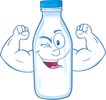 Winking Milk Bottle Character Showing Muscle Arms. Vettoriali