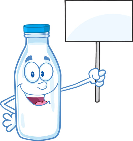 milkman: Cute Milk Bottle Character Holding A Blank Sign.  Illustration