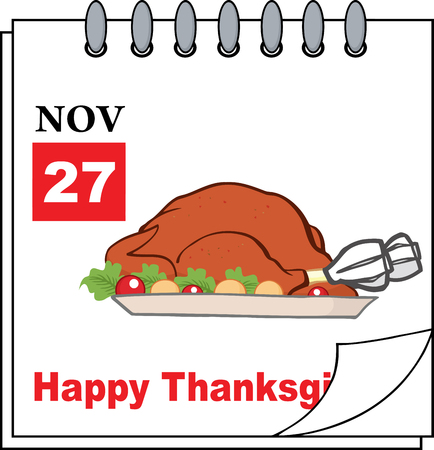 roasted turkey: Cartoon Calendar Page With Roasted Turkey And Happy Thanksgiving Greeting Illustration