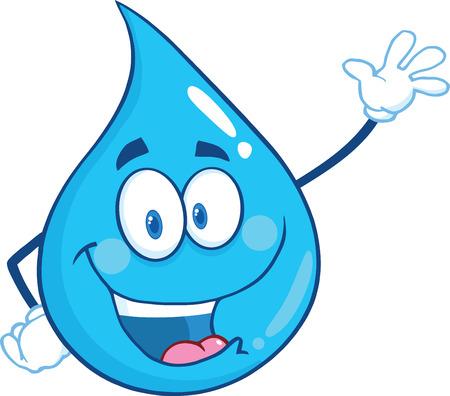 Water Drop Character Waving Per saluto. Illustrazione isolato su sfondo bianco Archivio Fotografico - 33669142