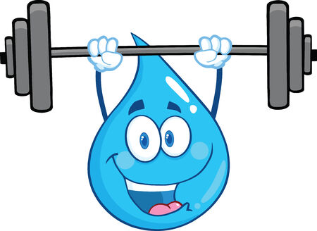 Water Drop Character Lifting Weights. Illustration Isolated On White Background Vector