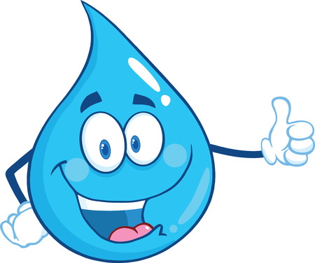 Happy Water Drop Character Giving A Thumb Up. Illustration Isolated On White Background Ilustração