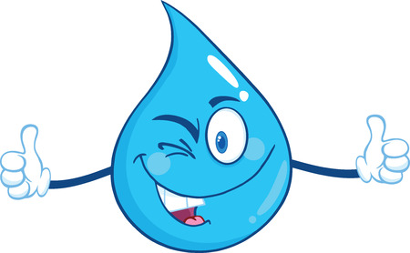 Happy Water Drop Character Giving A Double Thumbs Up. Illustration Isolated On White Background