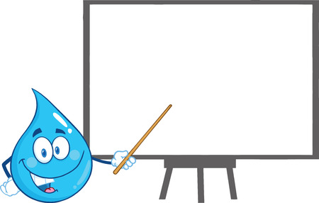waterdrop: Water Drop Character Holding A Pointer Presenting On A Board. Illustration Isolated On White Background