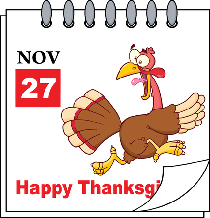 Cartoon Calendar Page With Cartoon Turkey Escape And Happy Thanksgiving Greeting Vector