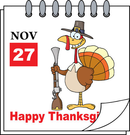 thanksgiving greeting: Cartoon Calendar Page Turkey With Pilgrim Hat and Musket And Happy Thanksgiving Greeting