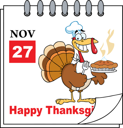 Cartoon Calendar Page Turkey Chef With Pie And Happy Thanksgiving Greeting Vector
