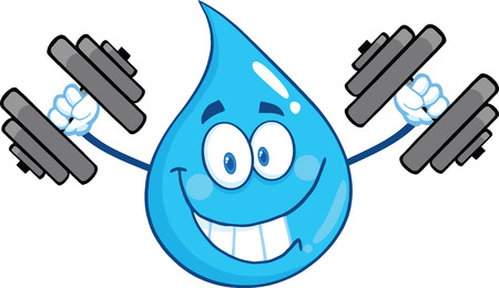 Smiling Water Drop Character Training With Dumbbells. Illustration Isolated On White Background