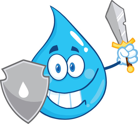 Water Drop Cartoon Mascot Guarder With Shield And Sword. Illustration Isolated On White Background