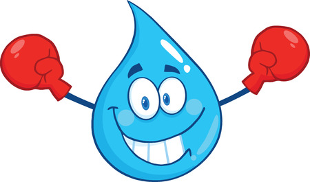 Smiling Water Drop Character With Boxing Gloves. Illustration Isolated On White Background Vector
