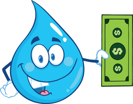 waterdrop: Water Drop Character Showing A Dollar Bill. Illustration Isolated On White Background Illustration