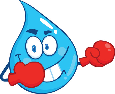 Water Drop Character With Boxing Gloves. Illustration Isolated On White Background