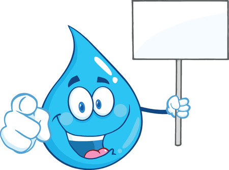 Water Drop Character Holding Up A Blank Sign. Illustration Isolated On White Background