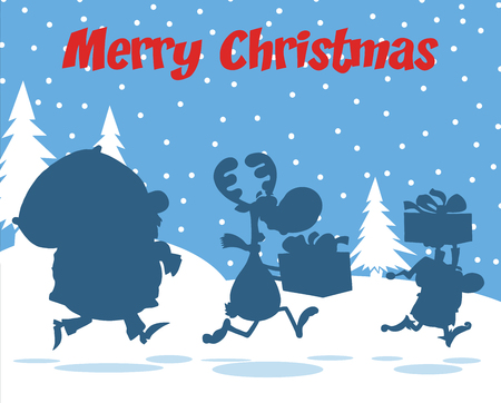 Merry Christmas Greeting With Santa Claus,Reindeer And Elf Silhouettes Vector