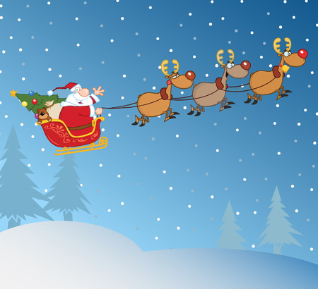 santa sleigh: Santa Claus In Flight With His Reindeer And Sleigh In Christmas Night