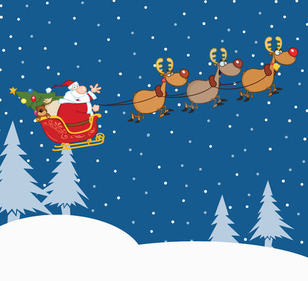 kris kringle: Santa Claus In Flight With His Reindeer And Sleigh In Christmas Night