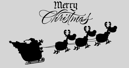 saint nick: Merry Christmas Greeting With Santa Claus In Flight With His Reindeer And Sleigh Silhouettes. Illustration Isolated On Gray Background