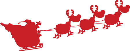 kris kringle: Red Silhouettes Of Santa Claus In Flight With His Reindeer And Sleigh. Illustration Isolated On White Background Illustration