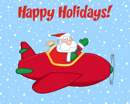 saint nicholas: Happy Holidays Greeting With Santa Claus Flying A Plane And Waving. Illustration Isolated On White Background