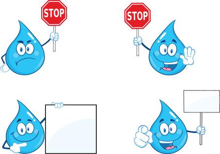 gota de agua: Carácter gota de agua azul en diferentes poses 4. Conjunto de la colección