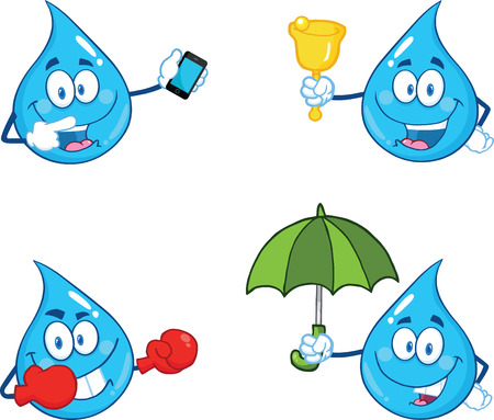 cartoon rain: Blue Water Drop Character In Different Poses 2. Collection Set