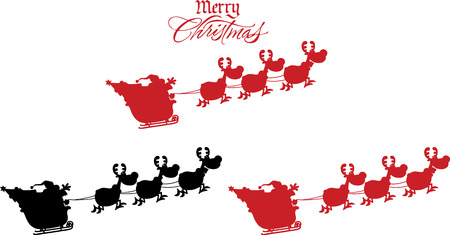 santa sleigh: Silhouettes Of Santa Claus In Flight With His Reindeer And Sleigh.  Collection Set