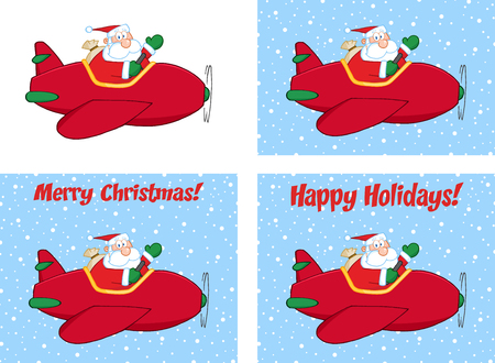 saint nick: Merry Christmas Greeting With Santa Claus Flying A Plane And Waving. Collection Set