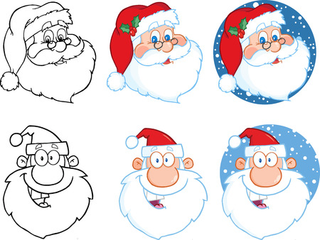 red heads: Santa Claus Head Cartoon Character. Collection Set