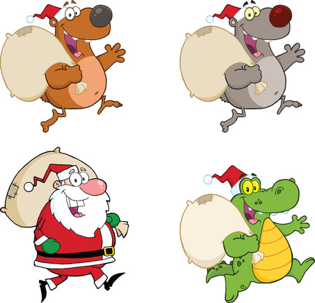 gator: Santa Claus And Animals Running With Bag. Collection Set Illustration