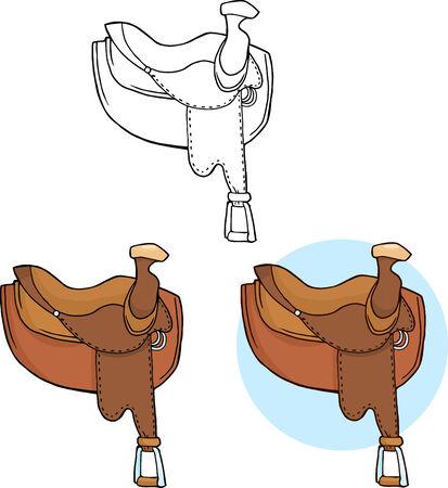 horse saddle: Horse Saddles. Collection Set