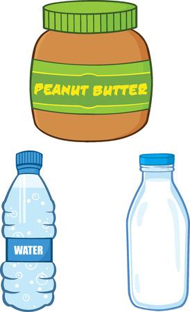 Cartoon Peanut Butter, Water and Milk Bottle. Collection Set Çizim