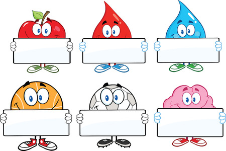 Mascot Cartoon Characters With Blank Sign. Collection Set