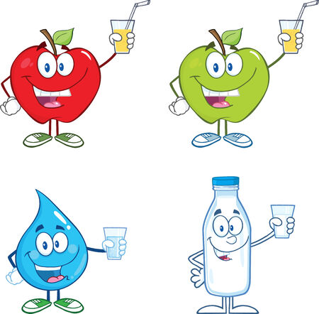 Mascot Cartoon Character With Glass. Collection Set Illustration