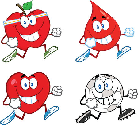 Mascot Cartoon Character Jogging - 1. Collection Set Vector