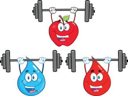 blood sport: Mascot Cartoon Character Lifting Barbell. Collection Set