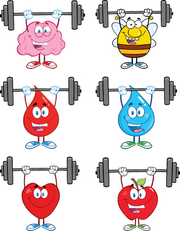 Mascot Character Lifting Barbell. Collection Set Ilustrace