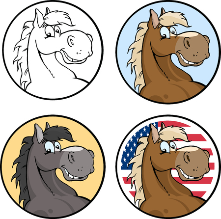 horseback riding: Horse Head Blank Circle Label. Collection Set