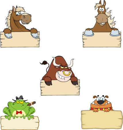 Animals Over Wooden Blank Sign. Collection Set Vector