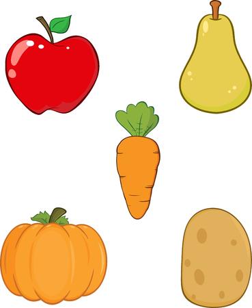 Groenten en Fruit. Verzameling Set Stock Illustratie