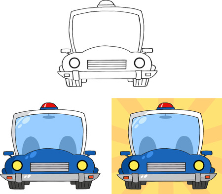 Retro Police Car. Collection Set
