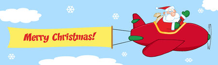 Santa Flying In The Sky With Christmas Plane AndA Blank Banner Attached With Text