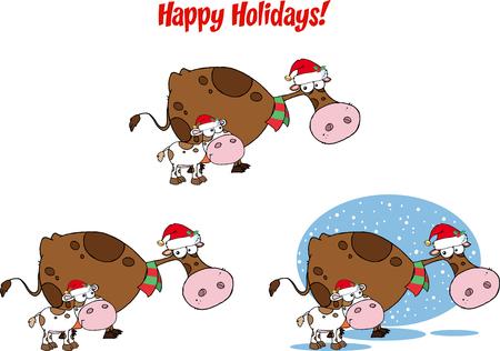 calf cow: Christmas Cow and Calf Cartoon Character. Collection Set Illustration