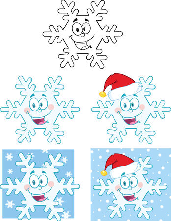 coldness: Snowflake Cartoon Mascot Character. Collection Set